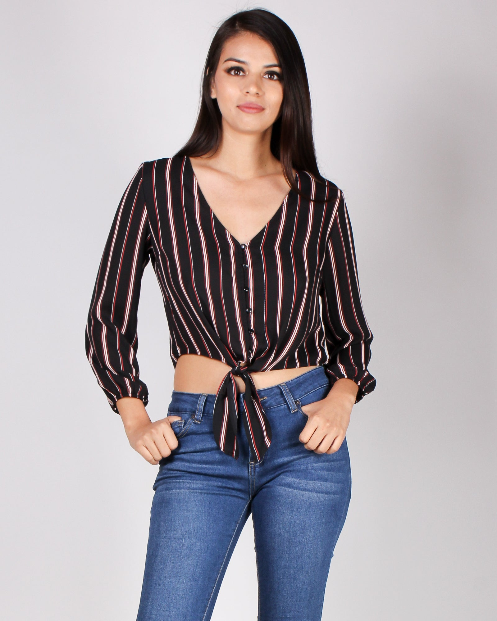 Fashion Q Shop Q Create Your Striping Dreams Blouse (Black) 71636-1