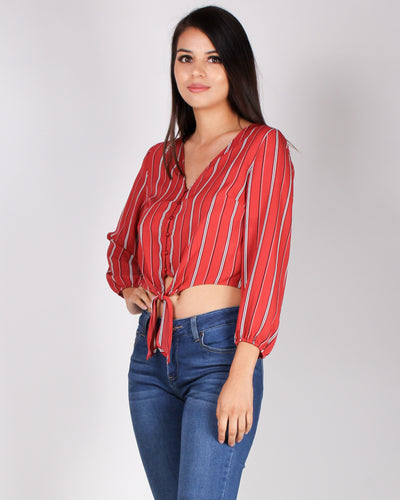Fashion Q Shop Q Create Your Striping Dreams Blouse (Red) 71636-1