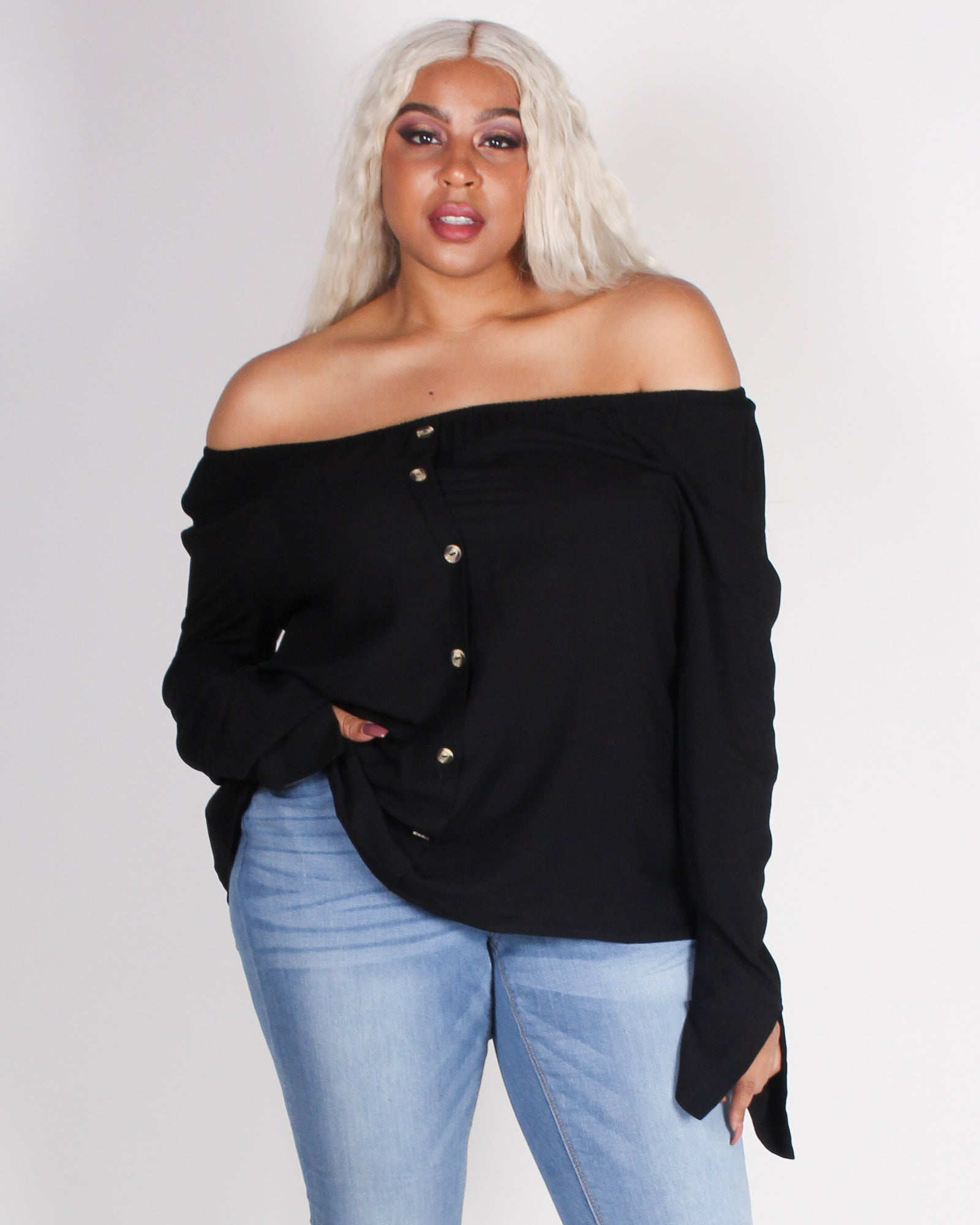 Fashion Q Shop Q Where I'm Meant to Be Off the Shoulder Plus Blouse (Black) 71689XL