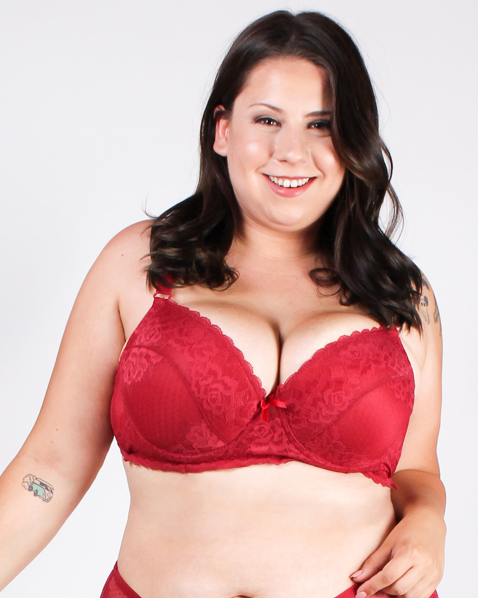Revel in it Lace Plus Bra (Burgundy)