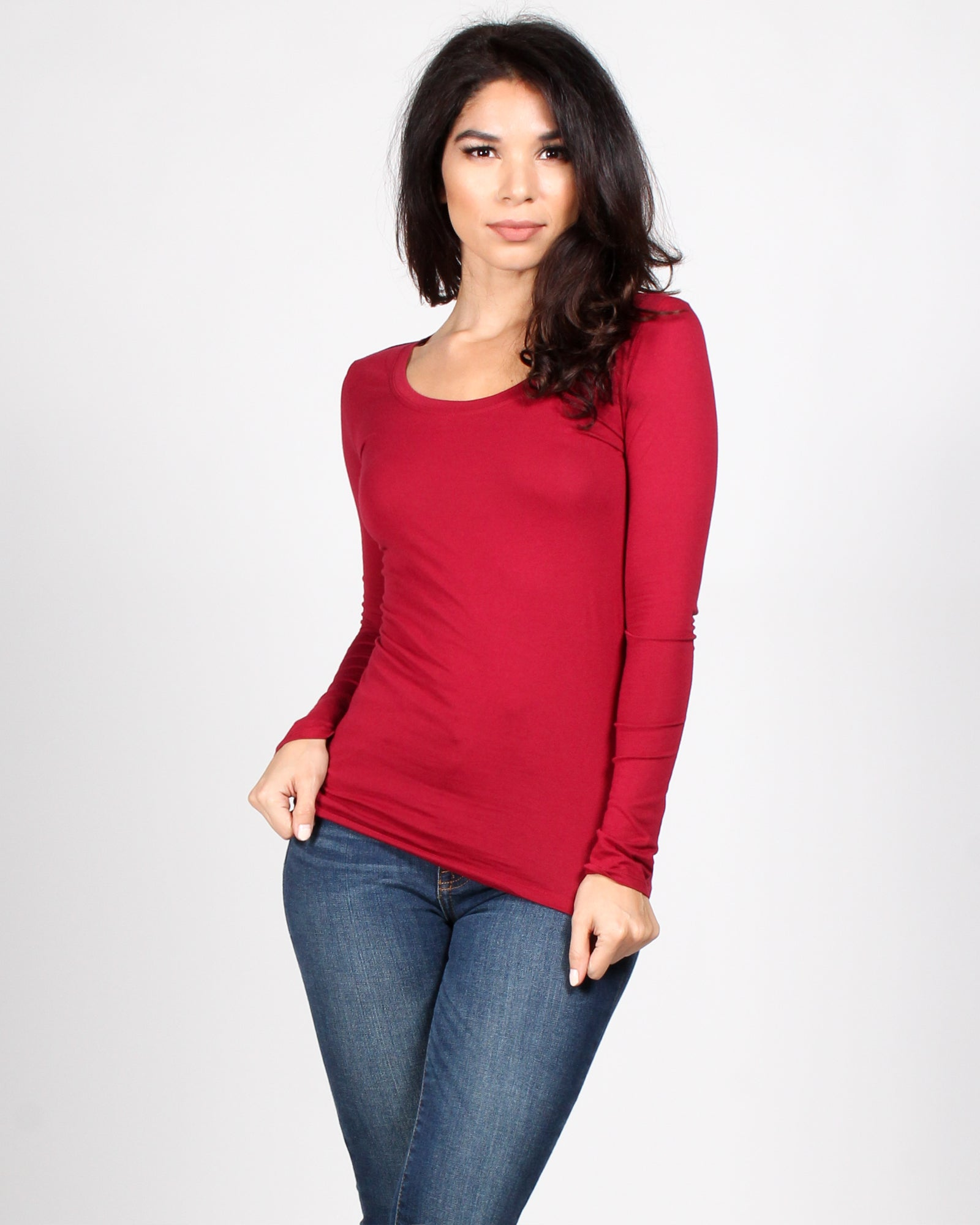 Fashion Q Shop Q The Q Basics: Round Neck Long Sleeve Top (Burgundy) 8008-IJ
