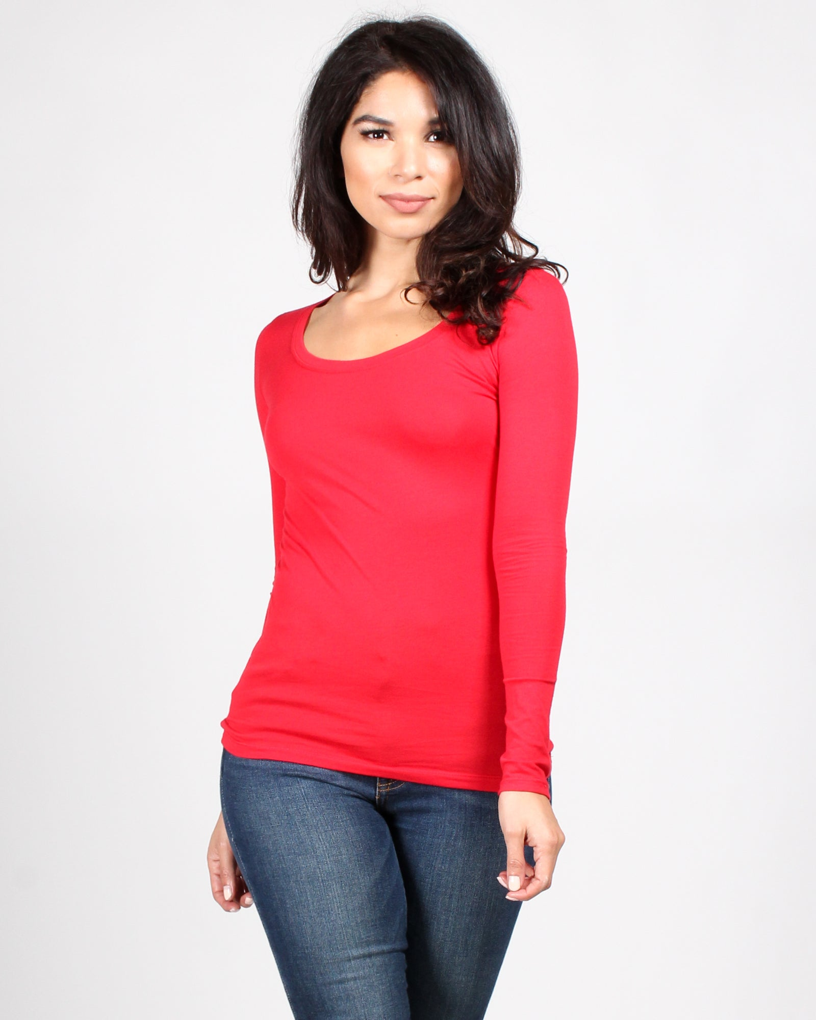 The Q Basics: Round Neck Long Sleeve Top (Red)