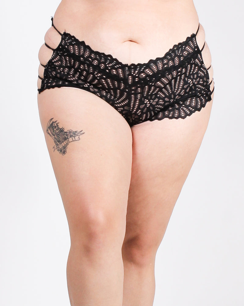 Lacely Endeavors Plus Boyshort Panties (Black)