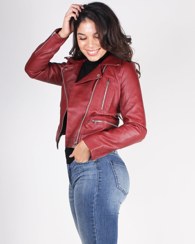Fashion Q Shop Q Must Have Moto Jacket (Red) 8229JH-17