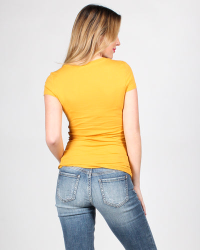 Fashion Q Shop Q The Q Basics: Round Neck Short Sleeve Top (Mustard) 8755