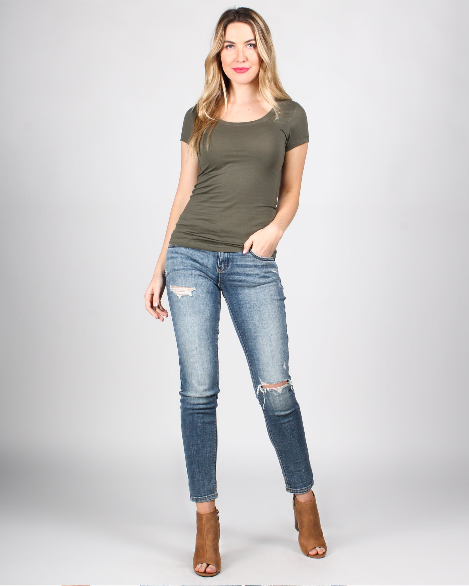 Fashion Q Shop Q The Q Basics: Round Neck Short Sleeve Top (Olive) 8755