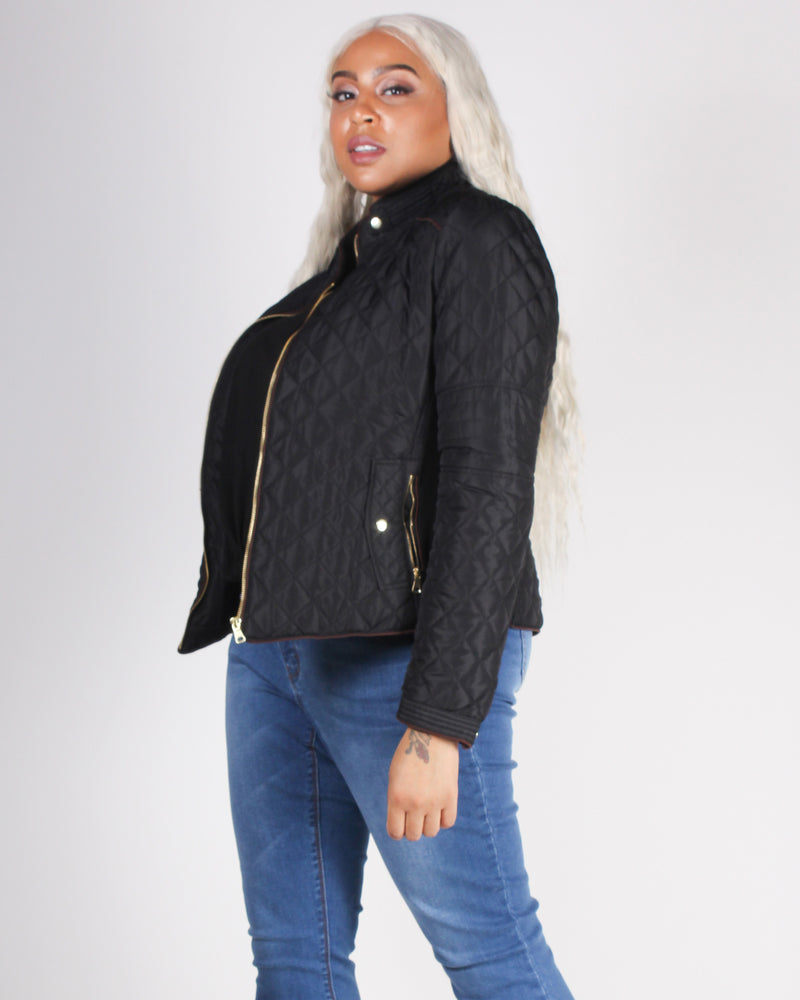 Fashion Q Shop Q Chasing The Wind Quilted Plus Jacket (Black) 8846JSX