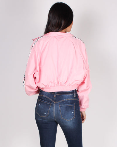 Sweet, But Psycho Cropped Windbreaker Jacket (Pink)