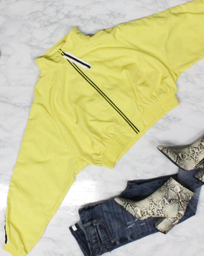 Fashion Q Shop Q Sweet, But Psycho Cropped Windbreaker Jacket (Yellow) 8906JN