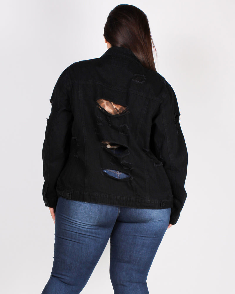 Fashion Q Shop Q Denim Therapy Plus Jacket (Black) 90105XL