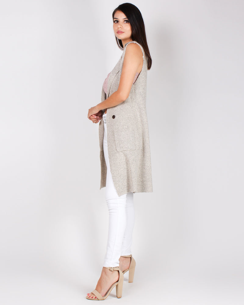 Fashion Q Shop Q The Sleeveless Castiel Sweater Trench (Oatmeal) 9010WH