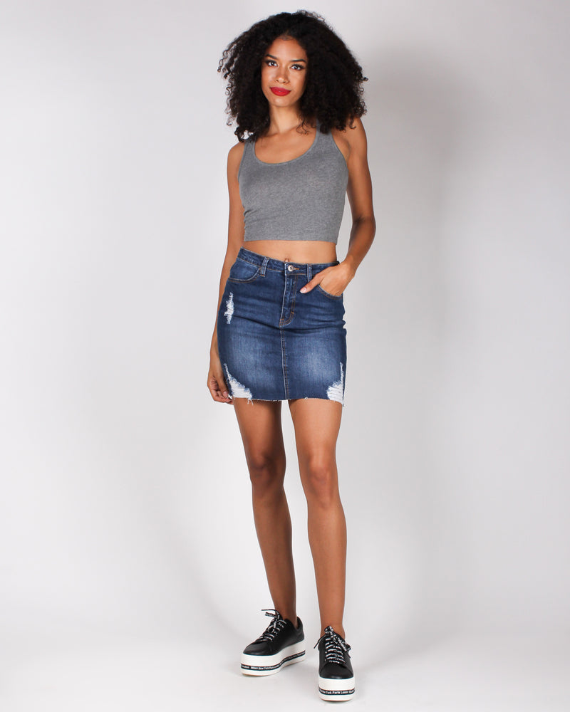 Fashion Q Shop Q Ciao Bella Denim Skirt (Dark) 90131