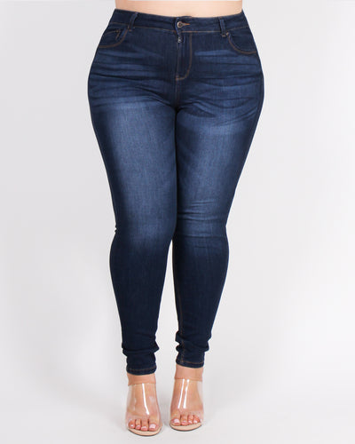 Take the Scenic Route Plus Skinny Jeans (Dark Wash)