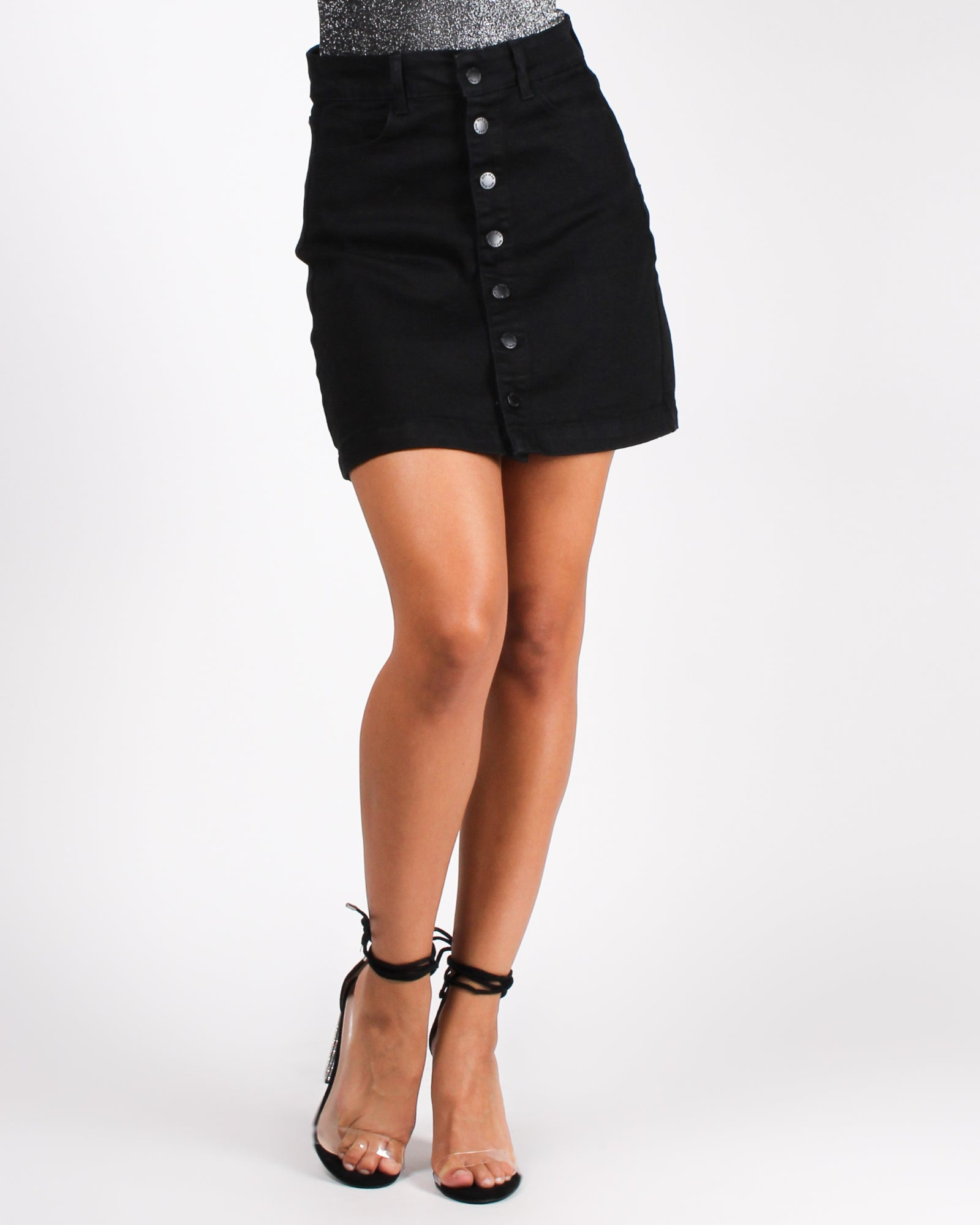 Veni, Vidi, Amavi Denim Skirt (Black)