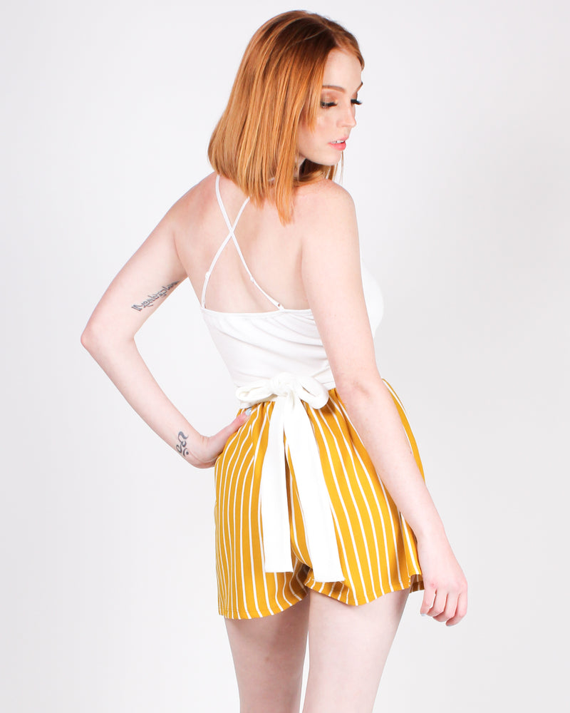 A Little Striping Risk, Never Hurt Romper (Mustard)