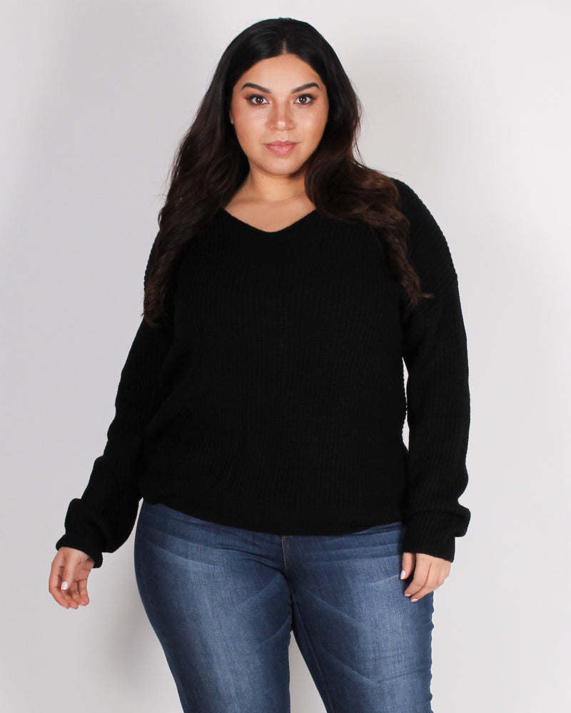 Fashion Q Shop Q Autumn is Calling Knit Plus Sweater (Black) 9324WYX