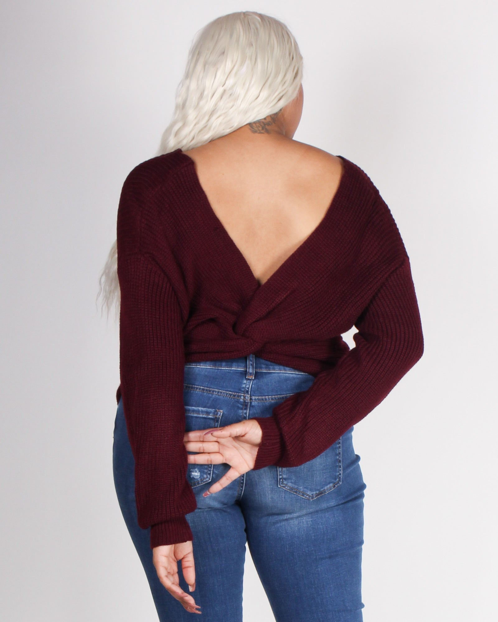 Fashion Q Shop Q Autumn is Calling Knit Plus Sweater (Wine) 9324WYX