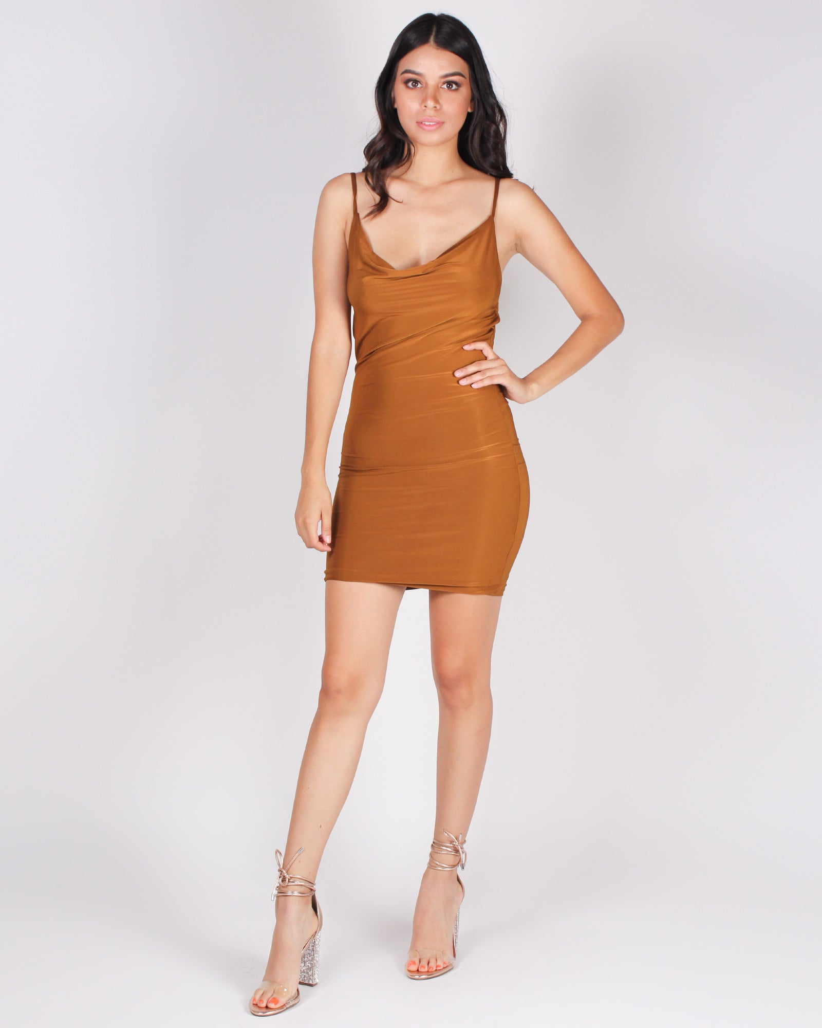 Cheers to Pour Decisions Cowl Neck Dress (Copper)