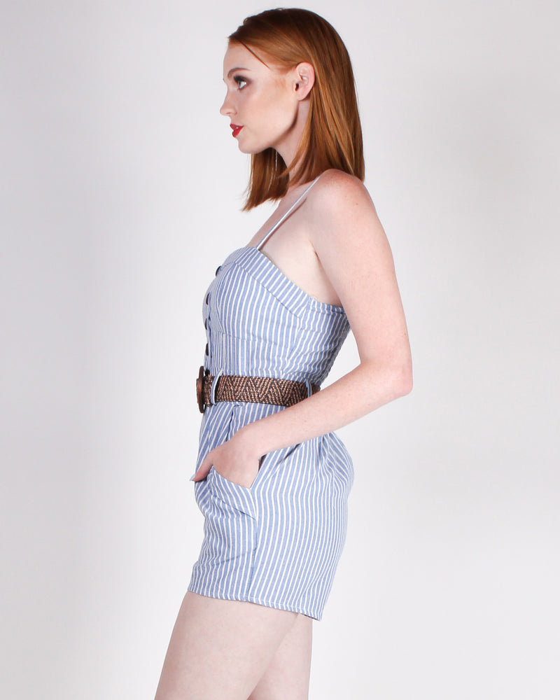 Fashion Q Shop Q Stripe Right Romper (Blue) 9716W