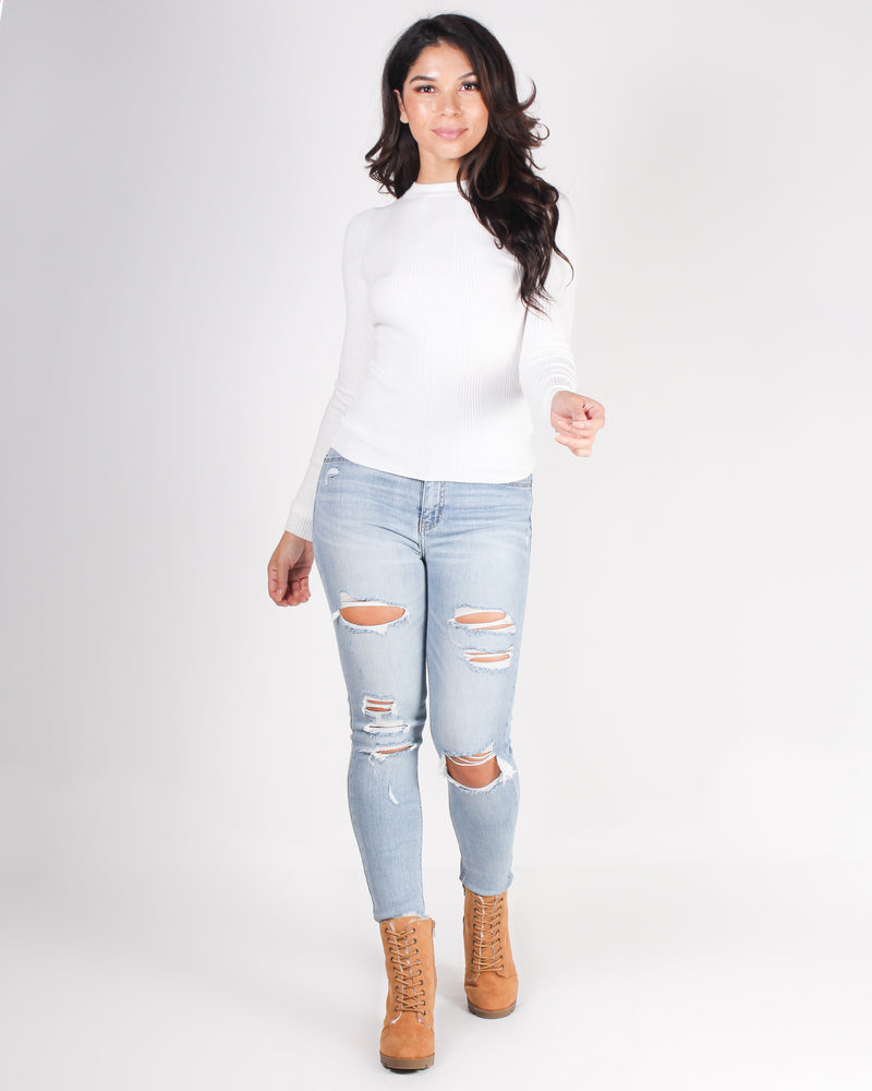 Fashion Q  Shop Q Fight so Dirty, But Love So Sweet Skinny Jeans (Light) 9978