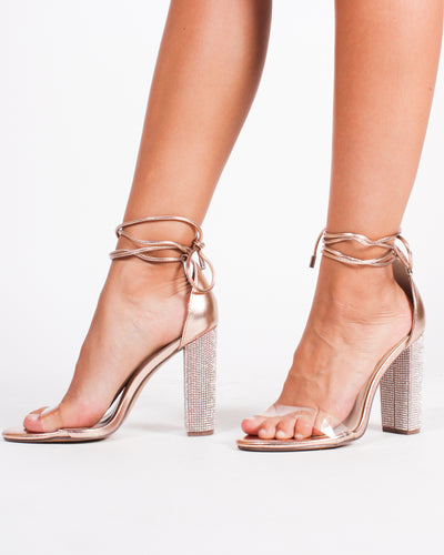 Atlantic City Crystal Clear Heels (Rose Gold)