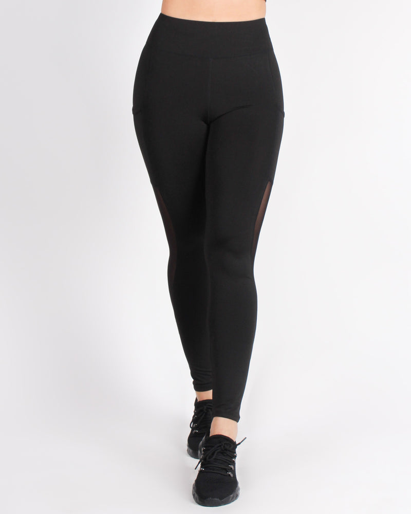 Fashion Q Shop Q Love Yourself More Side Pockets Yoga Pants (Black) AP68358