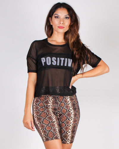 Fashion Q Shop Q Be a Positive Mesh Top (Black) AT1884