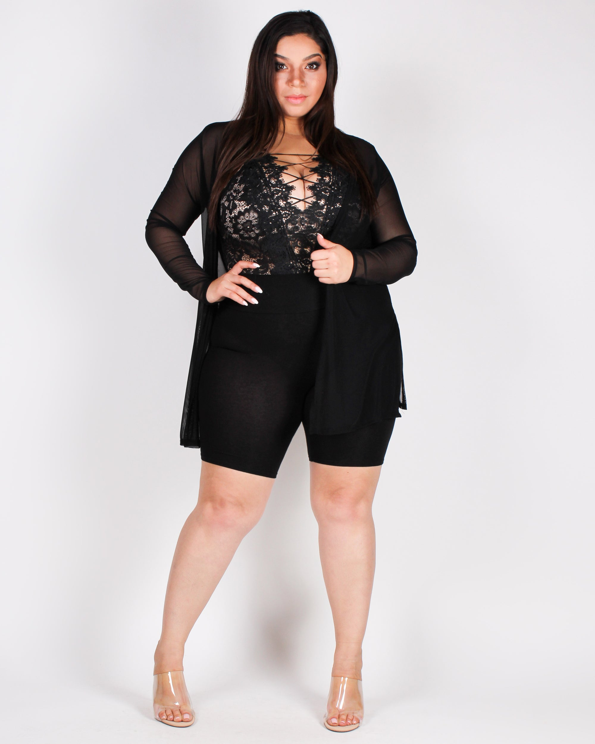Own Your Hot Mesh Plus Cardigan (Black)