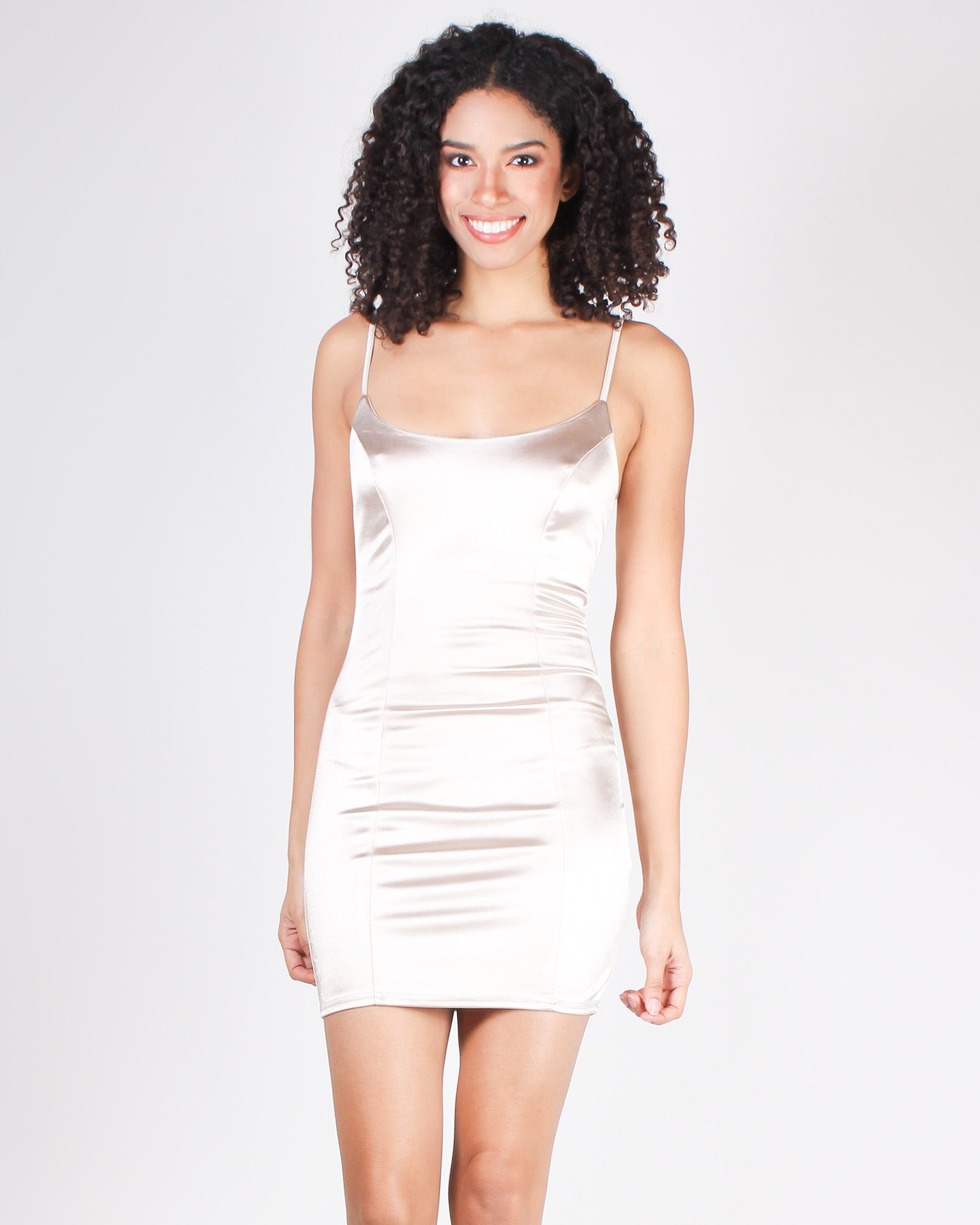 One Dress is All it Takes Bodycon Mini-dress (Champagne)