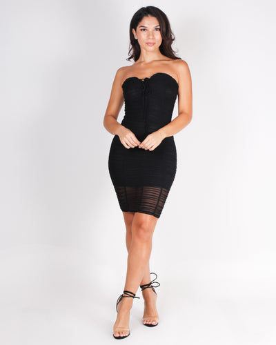 Fashion Q Shop Q Go Ahead, Ahead Now Ruched Bodycon Dress (Black) BD04234-S
