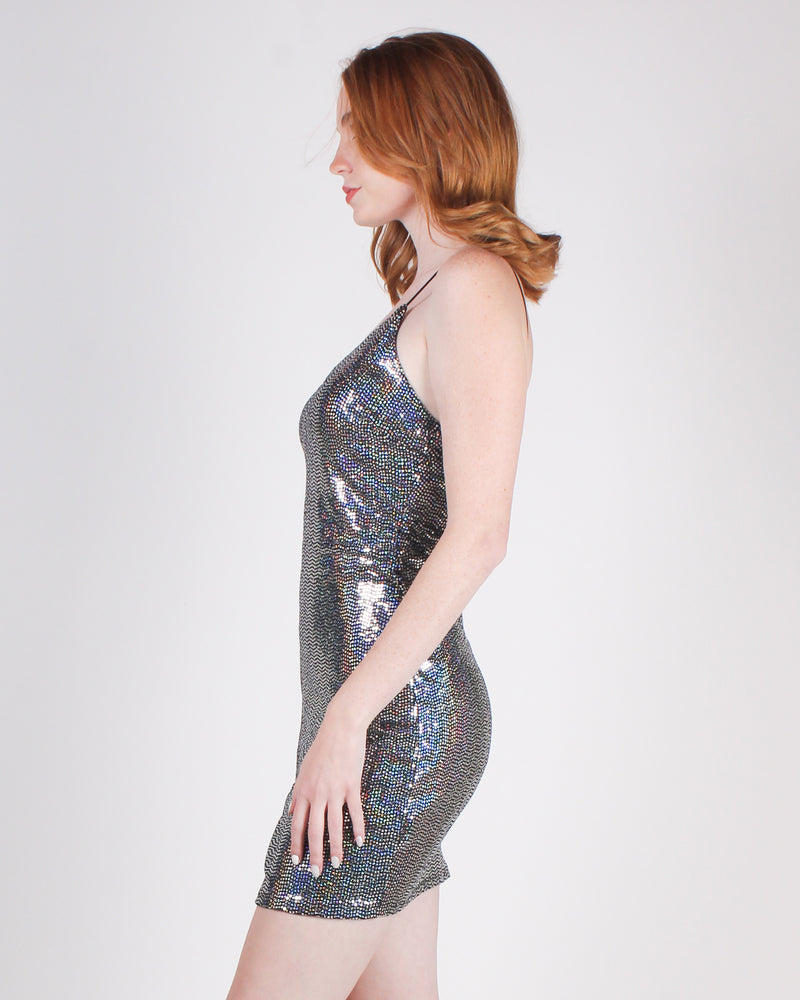 Fashion Q Shop Q Don't Leave Home Without Your Sparkle Bodycon Dress (Silver) BD11538