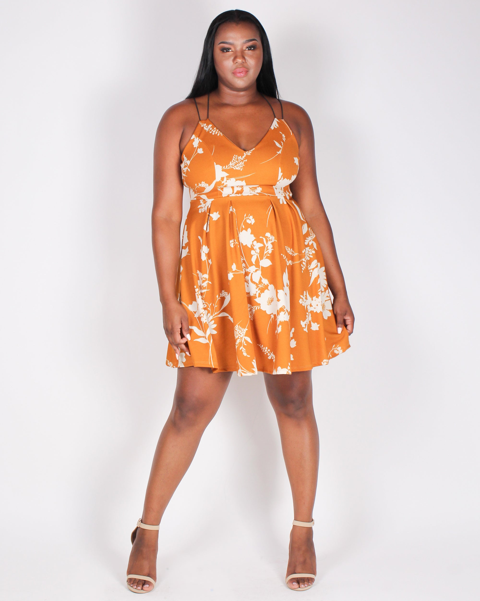 Fashion Q Shop Q Floral in My Blood Plus Sundress (Dark Mustard) BLD1373-7