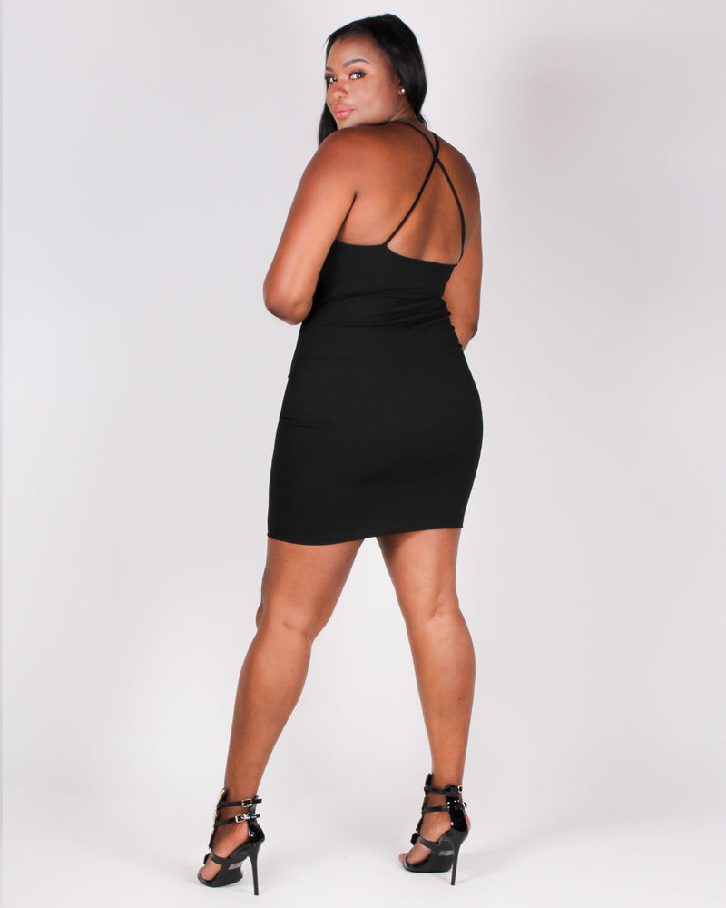 Sexy State of Mind Bodycon Dress  (Black)