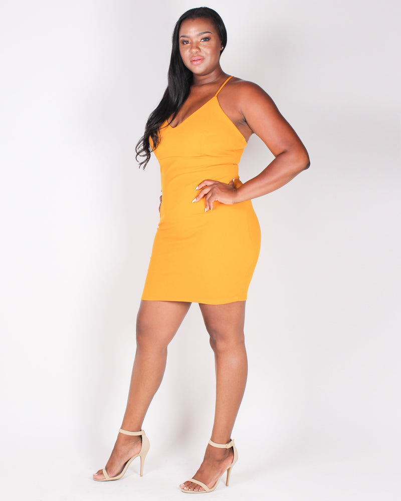 Sexy State of Mind Bodycon Dress  (Mustard)