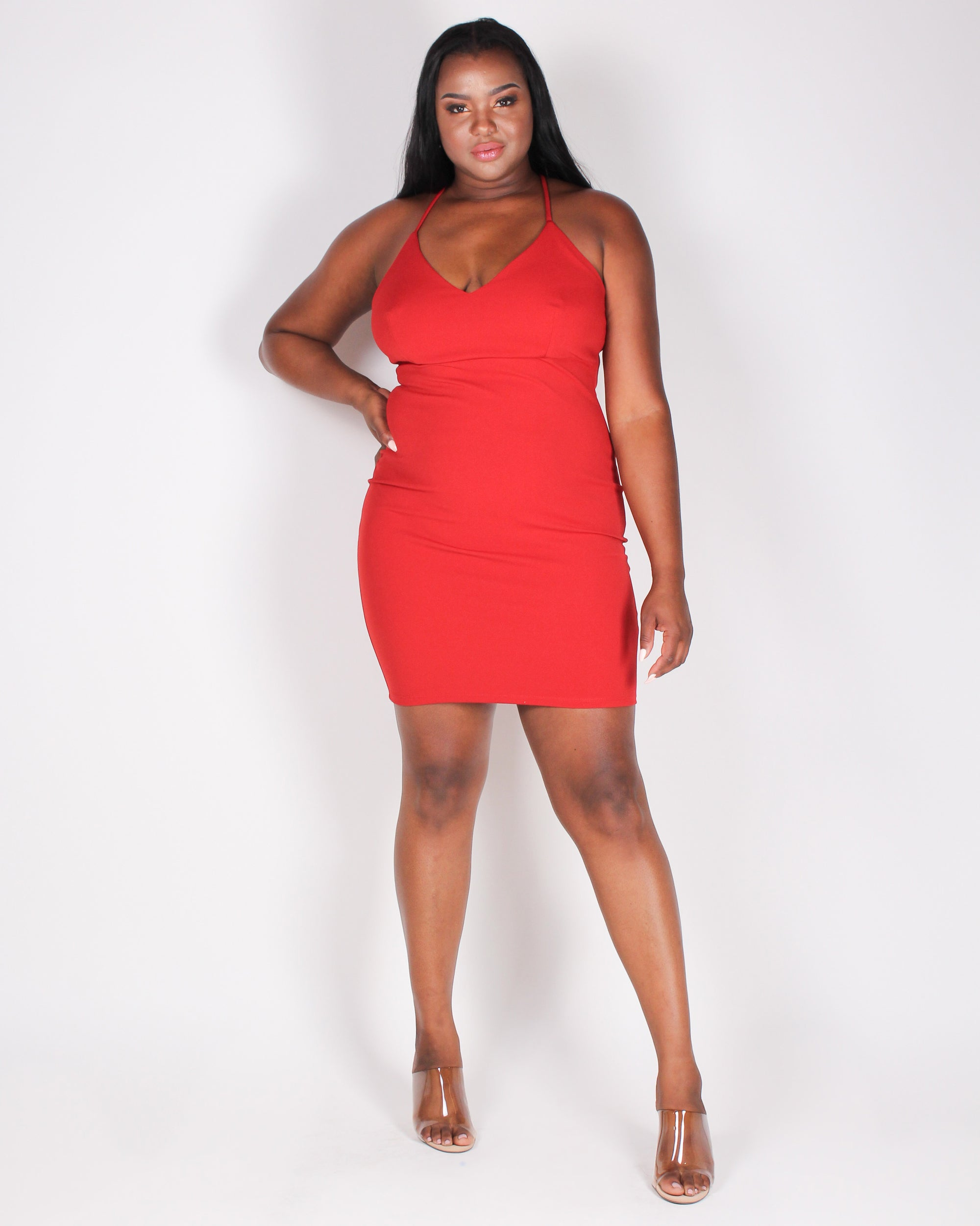 Sexy State of Mind Bodycon Dress  (Red)