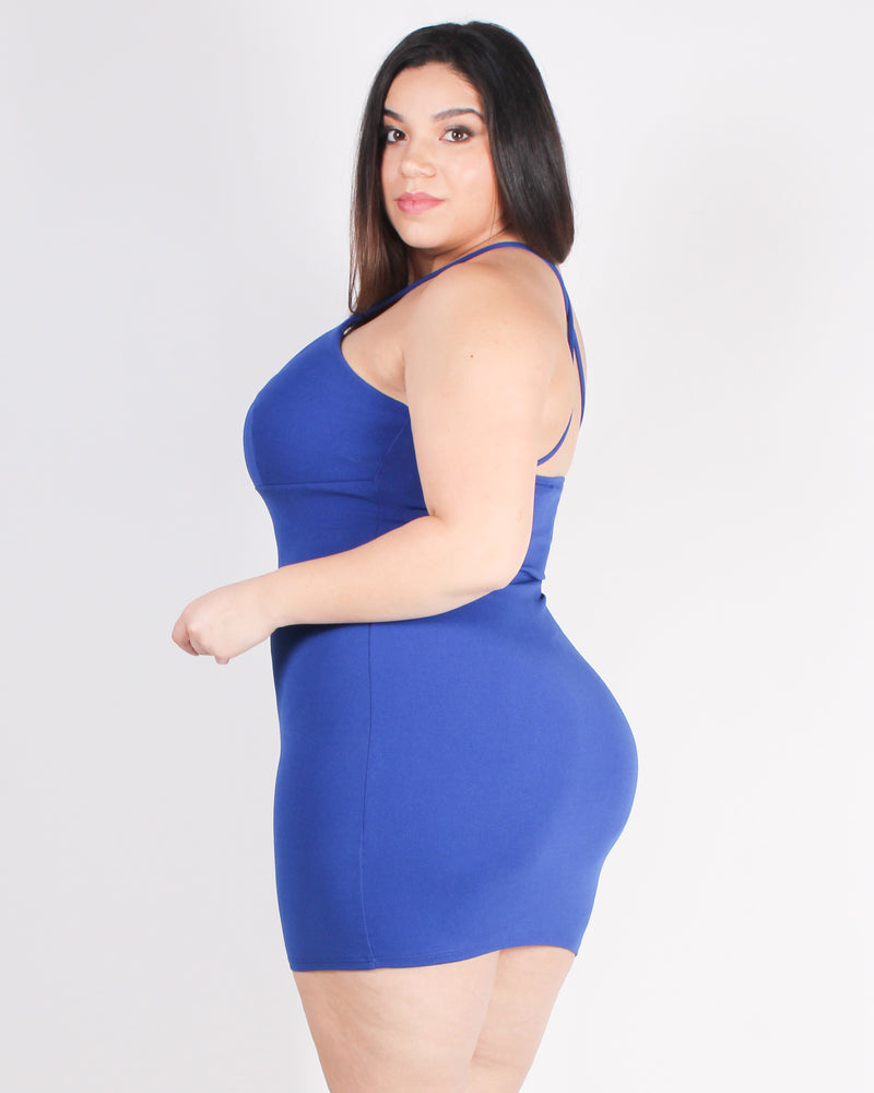 Sexy State of Mind Plus Bodycon Dress (Royal Blue)