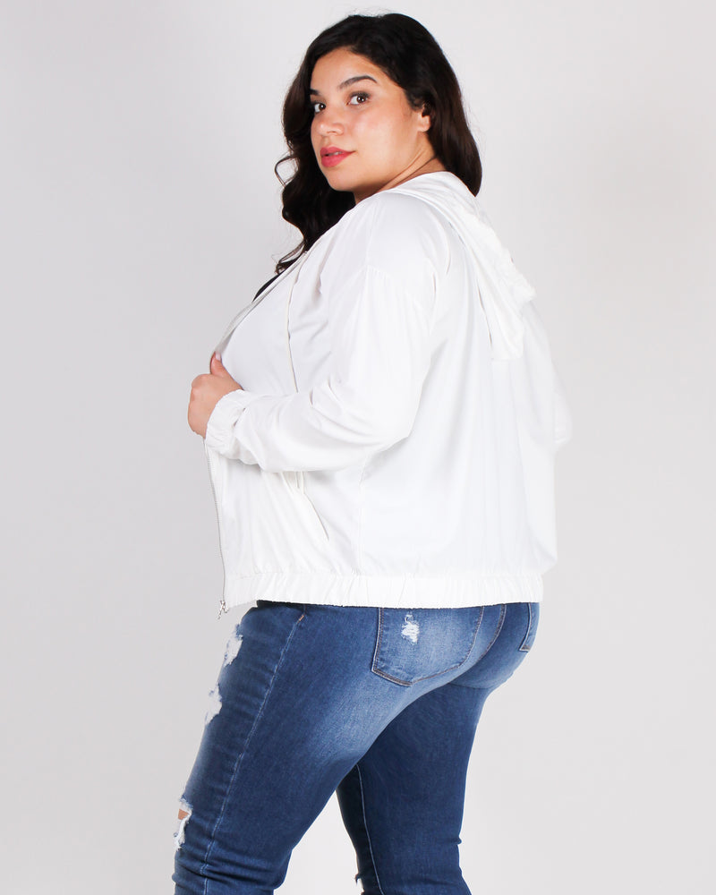 Beauty in the Day Plus Windbreaker Jacket (White)