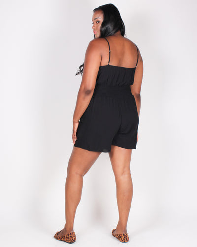 Fashion Q Shop Q Time is Precious Plus Romper (Black) BLR3197