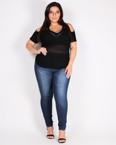 Fashion Q Shop Q You Have What it Takes Knit Plus Top (Black) BLT1046K