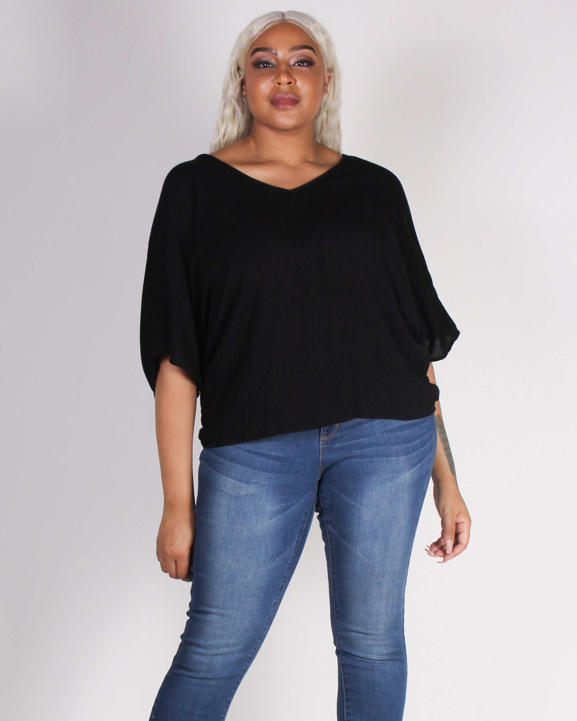 Fashion Q Shop Q Positivity is a Superpower Plus Blouse (Black) BLT1600