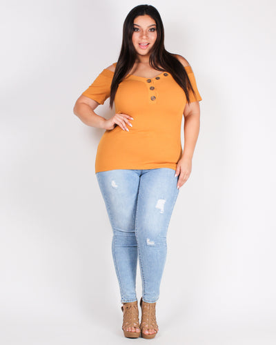Fashion Q Shop Q Life is One Grand Adventure Plus Top (Mustard) BLT1907S1