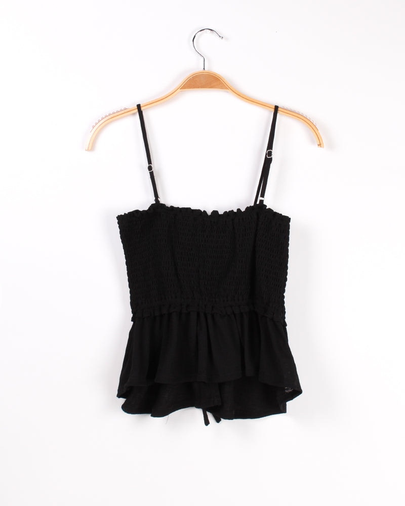 Abso-smocking-lutely Awesome Crop Top (Black)