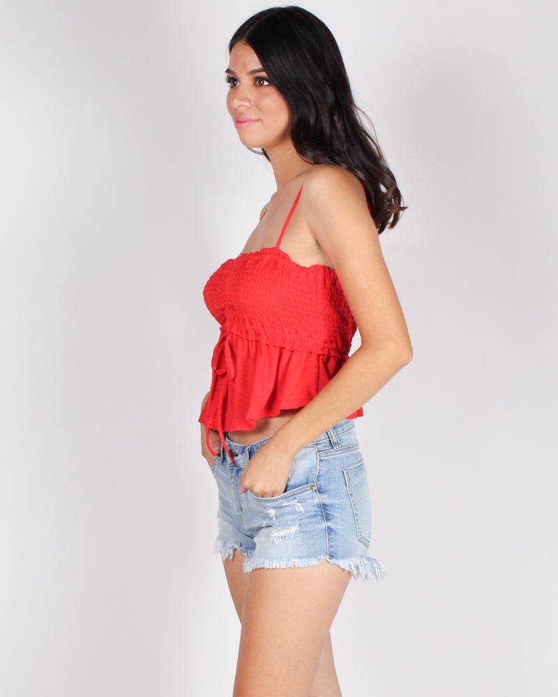 Abso-smocking-lutely Awesome Crop Top (Red)