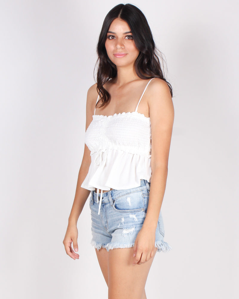 Abso-smocking-lutely Awesome Crop Top (White)