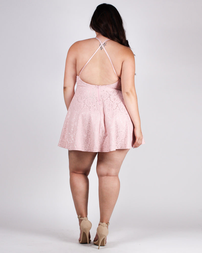 The Heart Wants What it Wants Plus Party Dress (Dusty Rose)