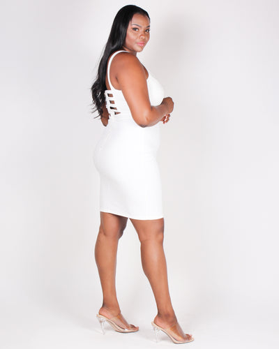 Sorry, Out Living the Dream Bodycon Dress (White)