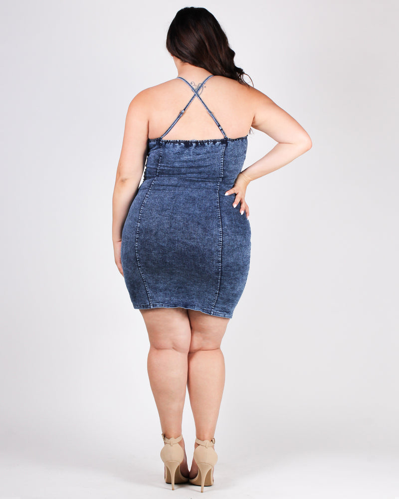 Be Unapologetically You Denim Plus Bodycon Dress