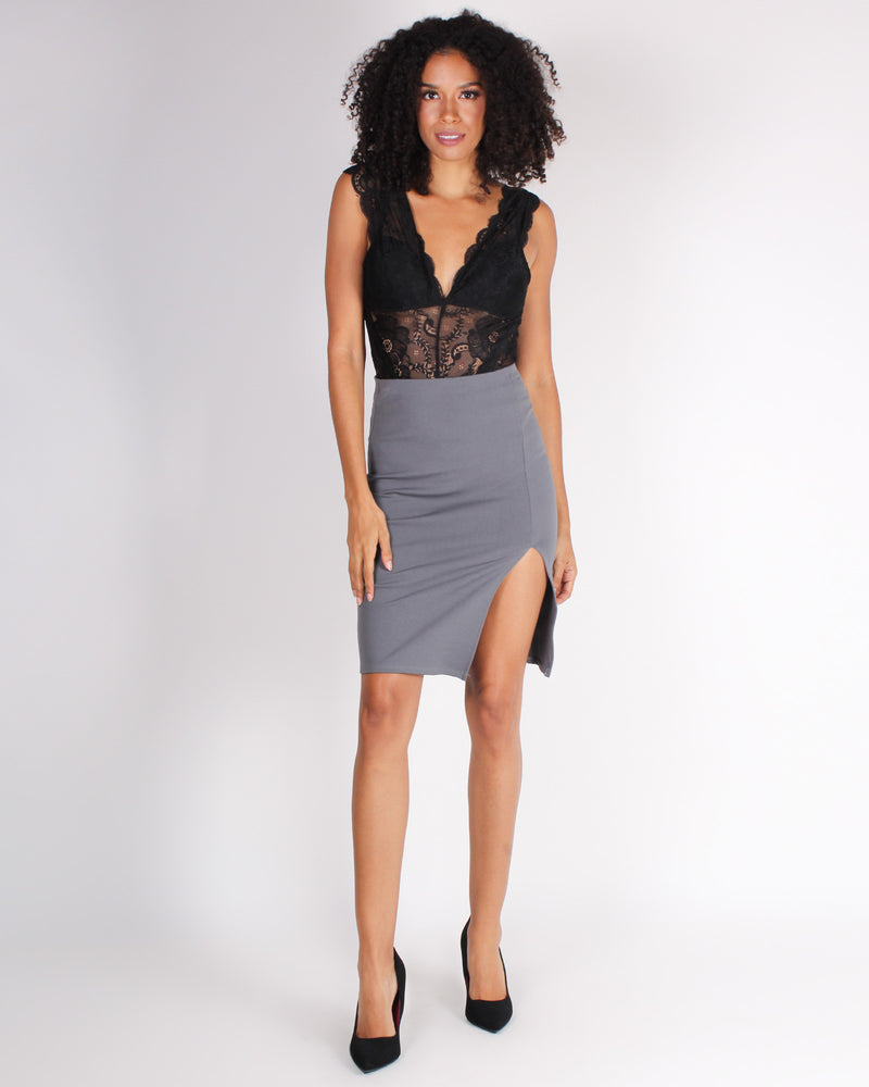 Fashion Q Shop Q The Evolution of You Pencil Skirt (Charcoal) CH3148