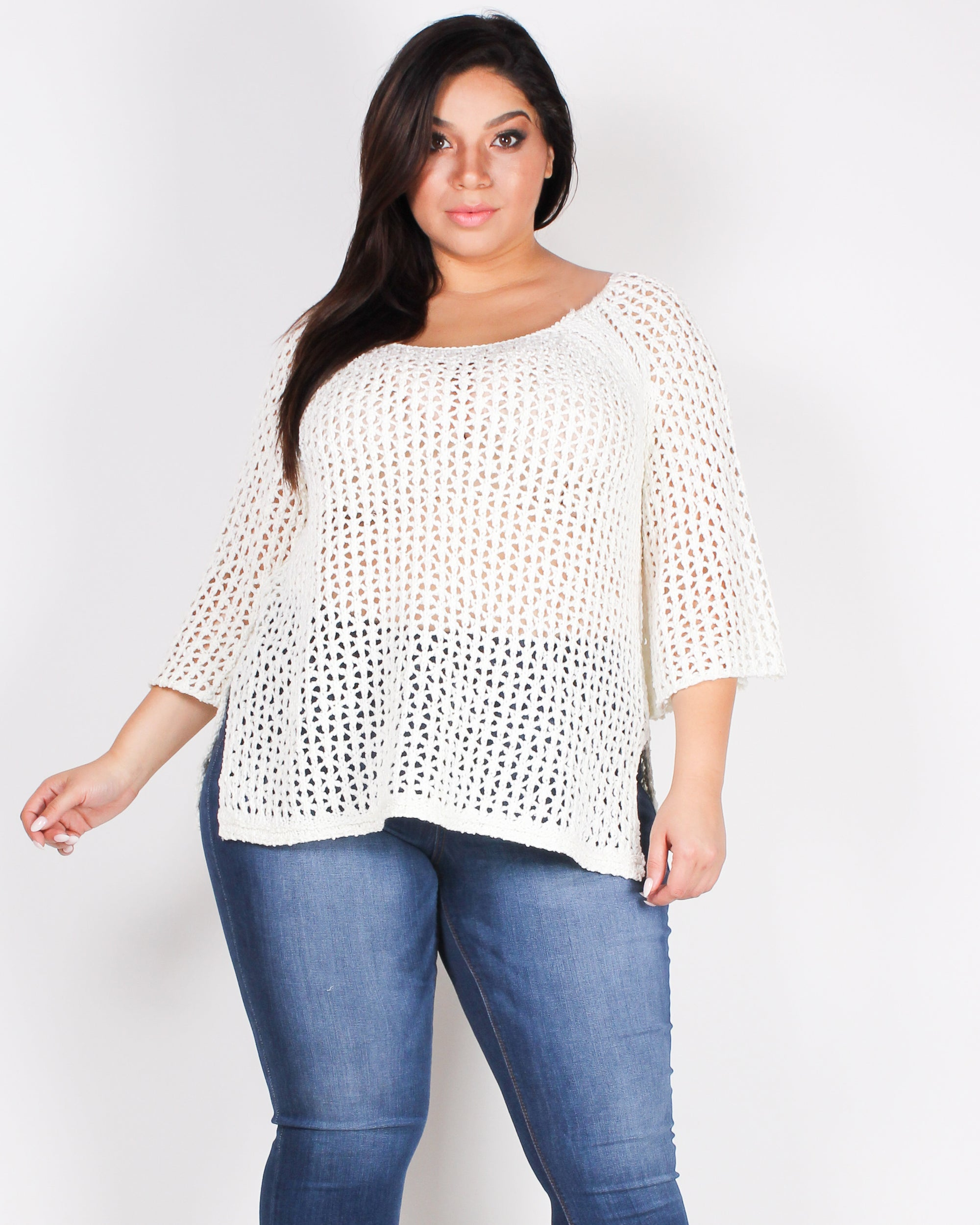 Fashion Q Shop Q Let's Get Back to the Knitty Gritty Plus Sweater (Soft White) CL1704P-SWT