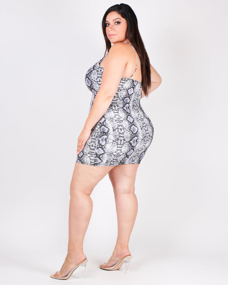 The Snake Charmer Plus Bodycon Dress (White Snakeskin) D13336P